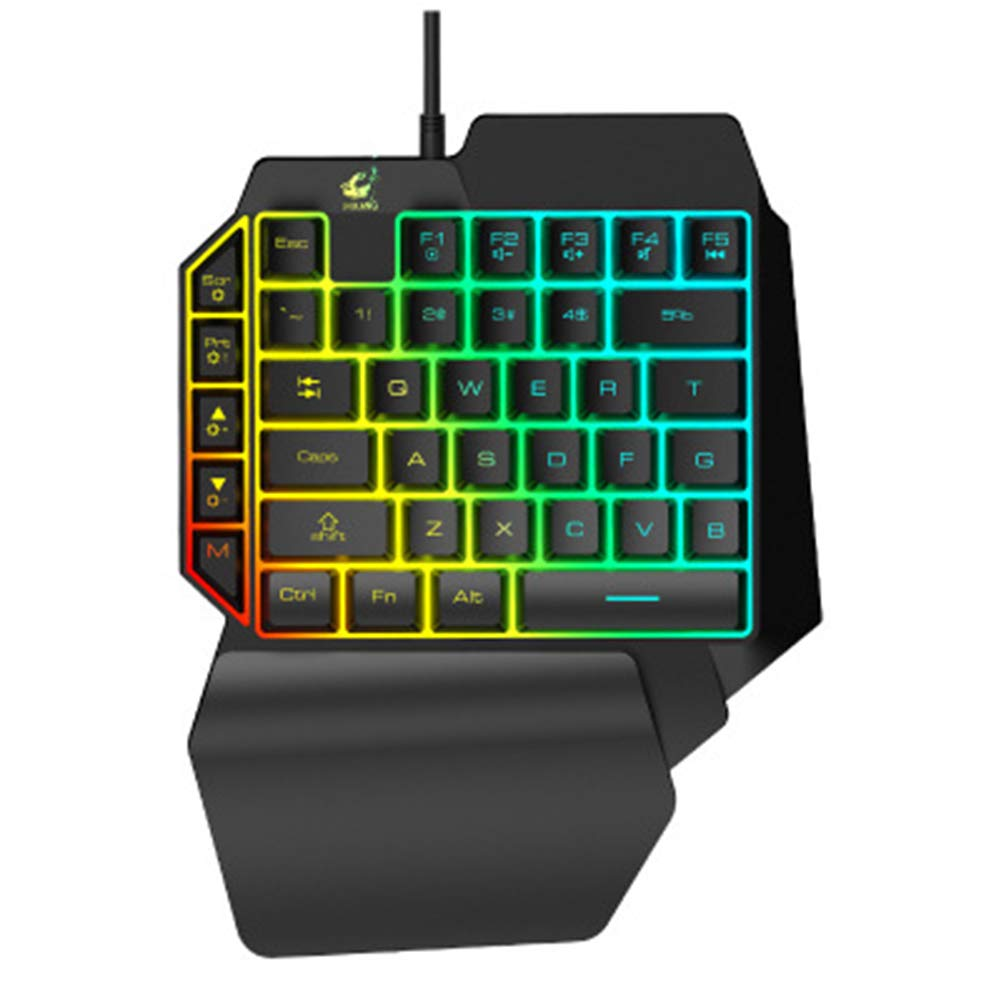 JLY Cable Game Keyboard with LED Backlight 39-Key Single-Handed Film Keyboard, Quiet All-Metal Panel Spill-Resistant Keyboard, for Android Smart TV,A by JLY