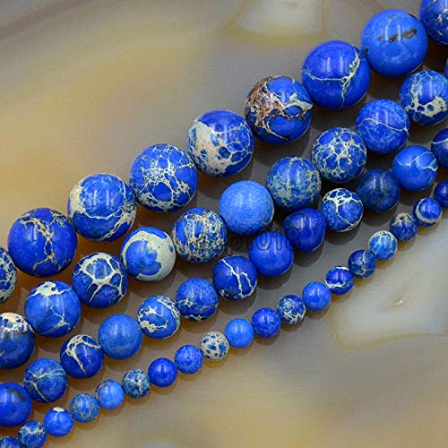 AD Beads Natural Sea Sediment Jasper Gemstone Round Beads 16'' 4mm - 12mm (8mm, Lapis - Gemstone Jasper Beads Round 4mm