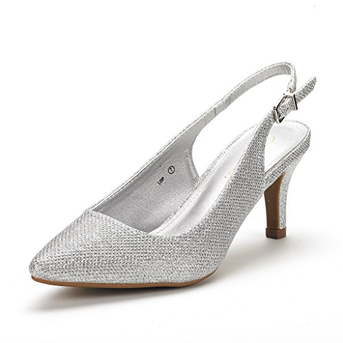 DREAM PAIRS Women's LOP Silver Glitter Slingback Low Heels Shoes - 6.5 M US