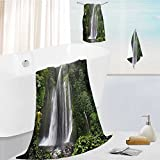 personalized bath towel set Waterfall Rain in Indonesia Tropical Trees Adventure Green Super Soft,Machine Washable 13.8''x13.8''-11.8''x27.6''-27.6''x55.2''