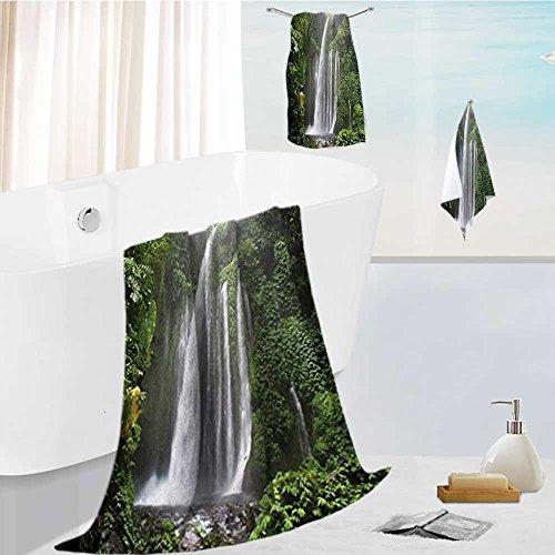 personalized bath towel set Waterfall Rain in Indonesia Tropical Trees Adventure Green Super Soft,Machine Washable 13.8''x13.8''-11.8''x27.6''-27.6''x55.2'' by Miki Da