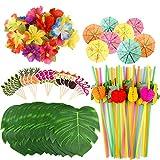 Kuuqa 184 PCS Tropical Hawaiian Party Decoration