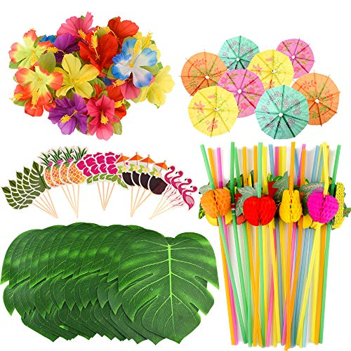 FEPITO 184 PCS Tropical Hawaiian Party Decorations Includes Tropical Palm Leaves, Hibiscus Flowers, Drink Umbrella Picks, Colorful Fruit Straws and Cupcake Toppers for Luau Party Decorations Supplies ()