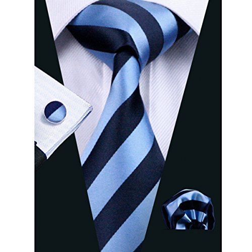 Hi-Tie Mens Blue And Black Striped Silk Tie Hanky Cufflinks set