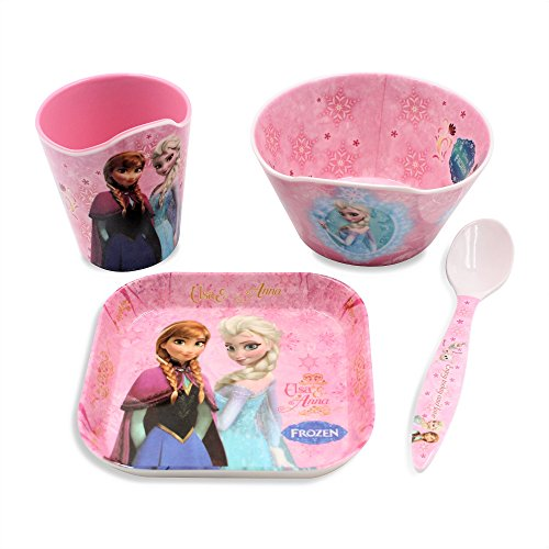 Costume Bowl Soup Of (Finex Set of 4 - Pink Frozen Meal Set - Cup, Spoon, Bowl, Plate Kids Dinner Meal Dishes Feeding set for toddlers Microwave Dishwasher)