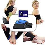 Alligne Reusable Hot&Cold Gel packs(4 PCS) with Adjustable Compress Wrap for Pain Relief(hand, foot, wrist, elbow, waist, shoulder, etc)|Ideal for sports injuries, muscle pains, body aches and more!