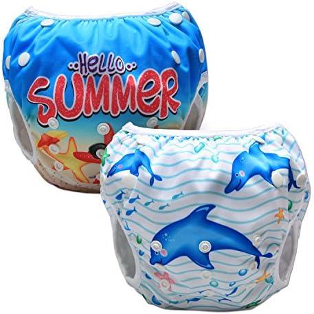 Luxja Baby Zwemluier Herbruikbaar 2 Stuks Verstelbare Zwemluiers voor Babys 03 Jaar DolfijnZeester