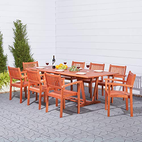 VIFAH V232SET33 9 Piece Outdoor Wood Dining Set with Rectangular Extension Table and Stacking Chairs (Piece Garden And Chairs 8 Table)