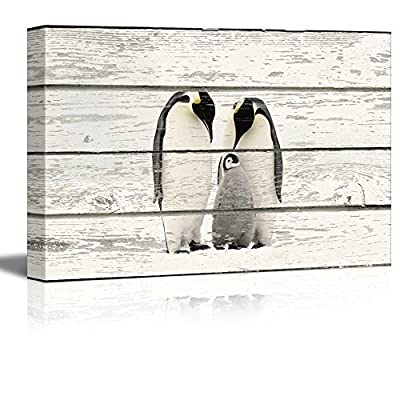 Penguin Family on Vintage Wood Textured Background Rustic...