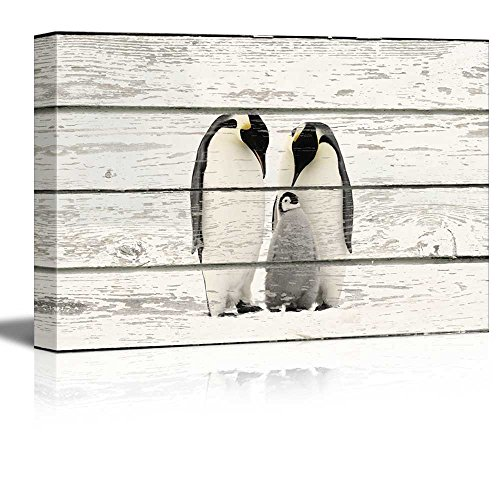 Penguin Family on Vintage Wood Textured Background Rustic Country Style Gallery