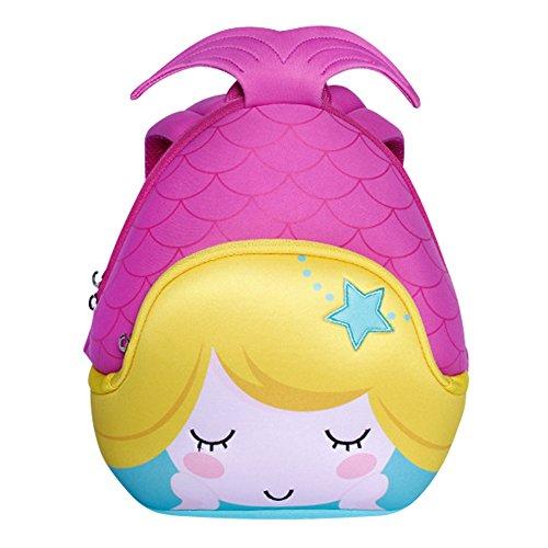 3D Mermaid Toddler Kids Backpack, LYCSIX66 Waterproof Neoprene Preschool Bag Travel Daypack for Baby Girl 2-6 Years, purple