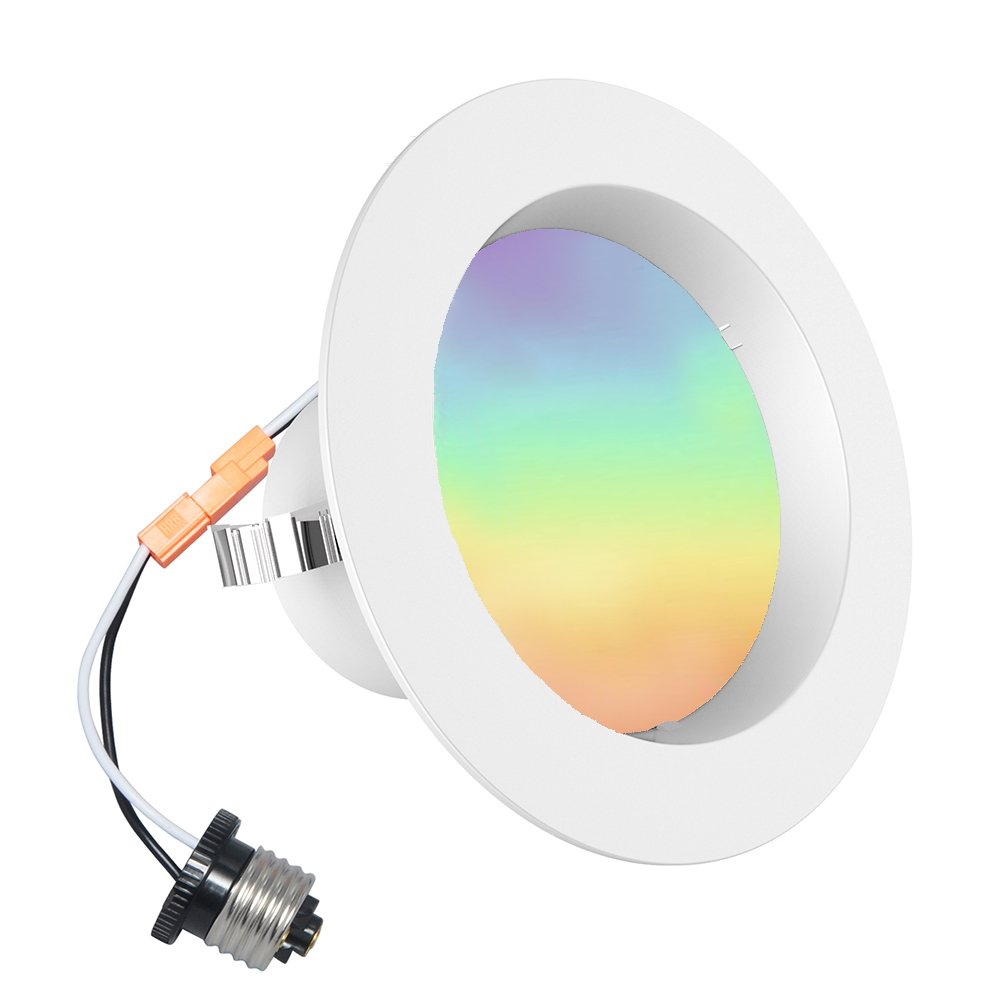 iLintek 4inch Bluetooth Mesh Smart LED Downlight, 9W (60W Equivalent) Multicolor Changing 810lm Ceiling Light, Dimmable APP Controlled Retrofit Recessed Light - No Hub Needed