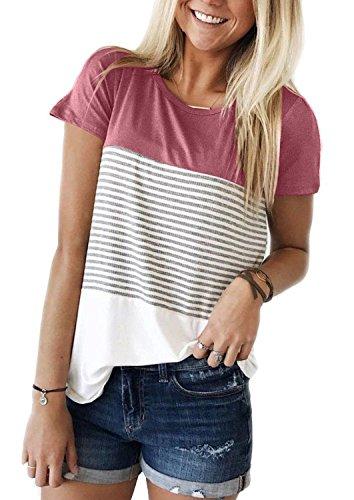 MOLERANI Women's Short Sleeve Color Block Casual Knits T Shirts Cotton Stripe Tunic Tops (L, Pink) - Stripe Cotton Top Blouse