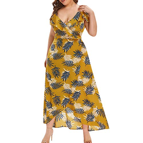 YKARITIANNA 2019, Women's Plus Size V-Neck Casual Bohemian Off-Shoulder Ruffled Banded Long Dress Yellow