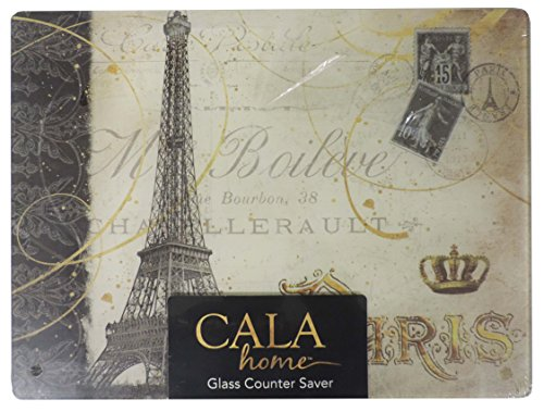 Cala Home Tempered Glass Cutting Board Counter Saver Paris Eiffel Tower 12 by 16 - Wall Plate Dcor