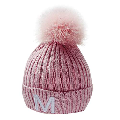 MONsin Christmas Clearance, Kids Hemming Hat Children Baby Boys Girls Letter Winter Keep Warm Knitted Caps (Pink)