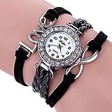 Duoya Women's Braided Bracelet Crystal Watch Wrap Around Leather Strap D023