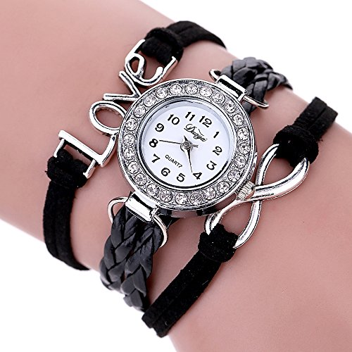 Women's Black Braided Leather Strap Watch - 8