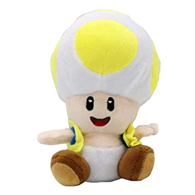 "Meijiada Super Mario Bros Yellow Toad Brigade Mushroom Kingdom Plush Toy Stuffed Animal 6"": Toys & Games"