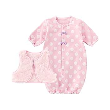 17edeef6f358a ニシキ スウィートガール ベスト付きドット新生児ツーウェイオール P5290 50-60cm ピンク