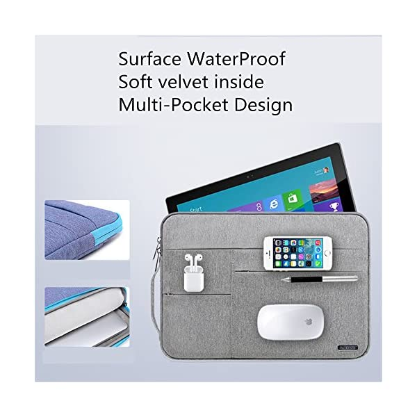 Audirex-Water-Drop-Proof-Laptop-Tablet-Sleeve-Handbag-for-12-133-Inch-MacBook-Air-MacBook-Pro-Retina-2012-2019-129-Inch-iPad-Pro-Surface-Pro-6-5-4-New-Surface-Pro-Grey