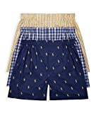 POLO RALPH LAUREN Classic Fit Woven Cotton Boxers 3-Pack, XL, Plaid/Stripe Combo