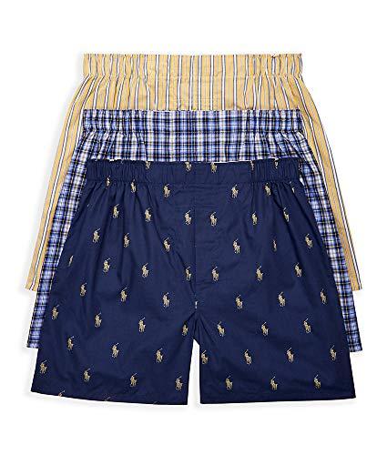 Polo Ralph Lauren Classic Fit Woven Cotton Boxers 3-Pack, L, Plaid/Stripe Combo (Plaid Boxer Mens Classic)