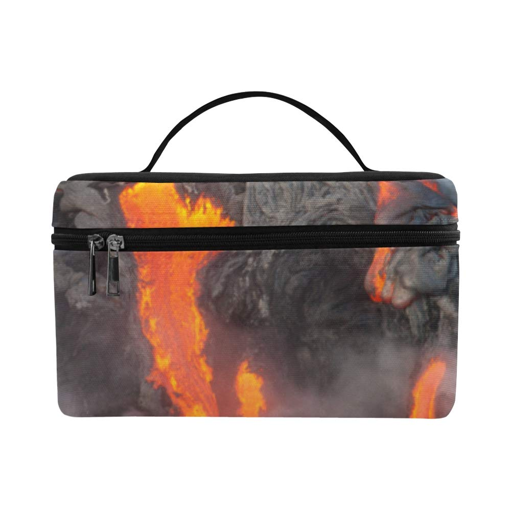 Magma And Water Fusion Large Capacity Size Lady Cosmetic Bag Makeup Organizer Lunch Box Train Toiletry Case For Girls Teen Women Travel With Zipper And Single Layer