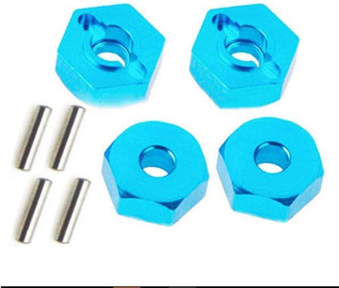 4pcs tuercas hexagonales de rueda de aleaci/ón de aluminio con pasadores Hubs de accionamiento Adaptador de tuerca de seguridad de 12 mm Accesorios de metal para coche RC para coche 4WD RC Azul