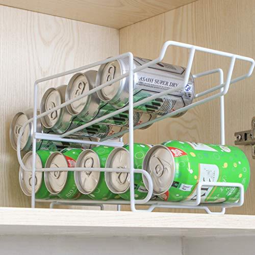 - m·kvfa Refrigerator Double Cans Storage Rack Finishing Rack Kitchen Desktop Rack Storage Shelf Drink Rack For Home Garden Kitchen Dining Bar