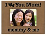 GIFT MOM ~ Engraved Leatherette Picture Frame ~ '' I Love You Mom! mommy & me '' ~ Mother's Day Gift, Christmas Gift, Moms Birthday Photo Mom Son Daughter (4 x 6, Beige Frame - Black Engraving)
