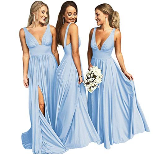 Bridesmaid Dresses Long V Neck Backless Split Beach Wedding Evening Prom Dress for Women Sky Blue Size4