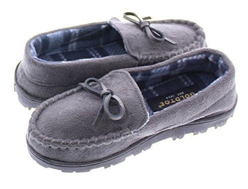 Gold Toe Boy's Faux Suede Flannel Plaid Fleece Shearling Lined Slip-On Moccasin Slipper Loafer Shoes