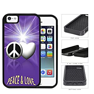 Peace And Love Symbols With Purple Glare 2-Piece Dual Layer High Impact Rubber Silicone Cell Phone Case Apple iPhone 5 5s