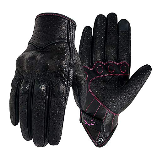 Women 's Touchscreen Motorcycle Gloves Full Finger Black Leather Armored Ladies Motorbike Gloves (G01W-Black Leather With Rose Line, M)