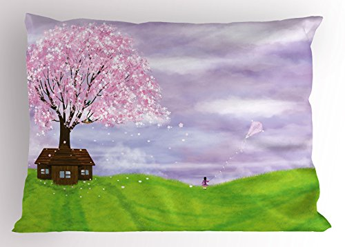 Price comparison product image Lunarable Nature Pillow Sham, Single House by Blooming Spring Tree and Little Girl with Kite Idyllic picture, Decorative Standard King Size Printed Pillowcase, 36 X 20 Inches, Lime Green Lilac