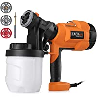 TACKLIFE Paint 800ml/min Electric Spray Gun with Three Spray Patterns, Four Nozzle Sizes, Adjustable Valve Knob, Quick Refill Lid and 900ml Detachable Container