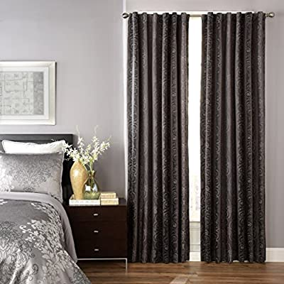 Beautyrest 16208052108PWT Avignon 52-Inch by 108-Inch Blackout Single Window Curtain Panel, Pewter - Sold as a single, lined curtain Tab top and rod pocket styling options Recommended with up to a 1.5 rod for maximum styling - living-room-soft-furnishings, living-room, draperies-curtains-shades - 516ewrmGpfL. SS400  -