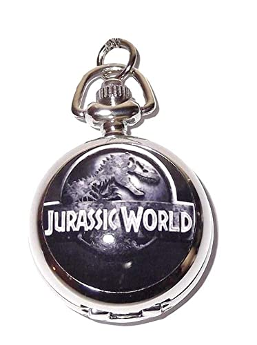 Reloj de bolsillo/collar Parque Jurásico – cadena bañada en plata – en caja regalo con batería de repuesto gratis: Amazon.es: Relojes