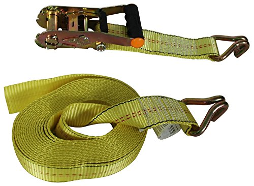 Highland (1152500) 25' Yellow Super Duty Ratchet Tie Down with Double J-Hooks - 1 piece by Highland
