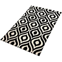 TreeWool Decorative Mat Area Rug Ikat Ogee Accent 100% Cotton (27 x 45 Inches, Black/Natural)
