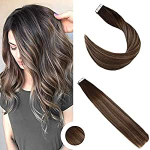 Ugeat 16inch Real Human Hair Tape in Dip-dye Dark Brown Fade to Honey Blonde and Dark Brown Remy Hair Extensions Glue in 100% Human Hair Straight 50Gram 20Pcs