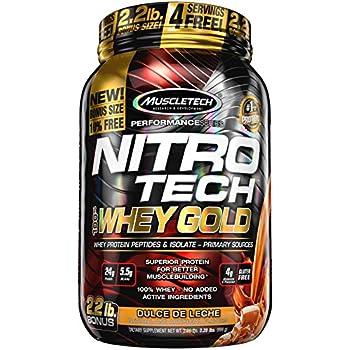 MuscleTech Nitrotech Whey Gold/Isolate/Peptides, Dulce De Leche, 2.2 Pound
