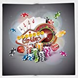 Cotton Microfiber Hand Towel,Poker Tournament Decorations,Welcome to Casino Colorful Chips Cards Dice Roulette Jackpot Decorative,Multicolor,for Kids, Teens, and Adults,One Side Printing