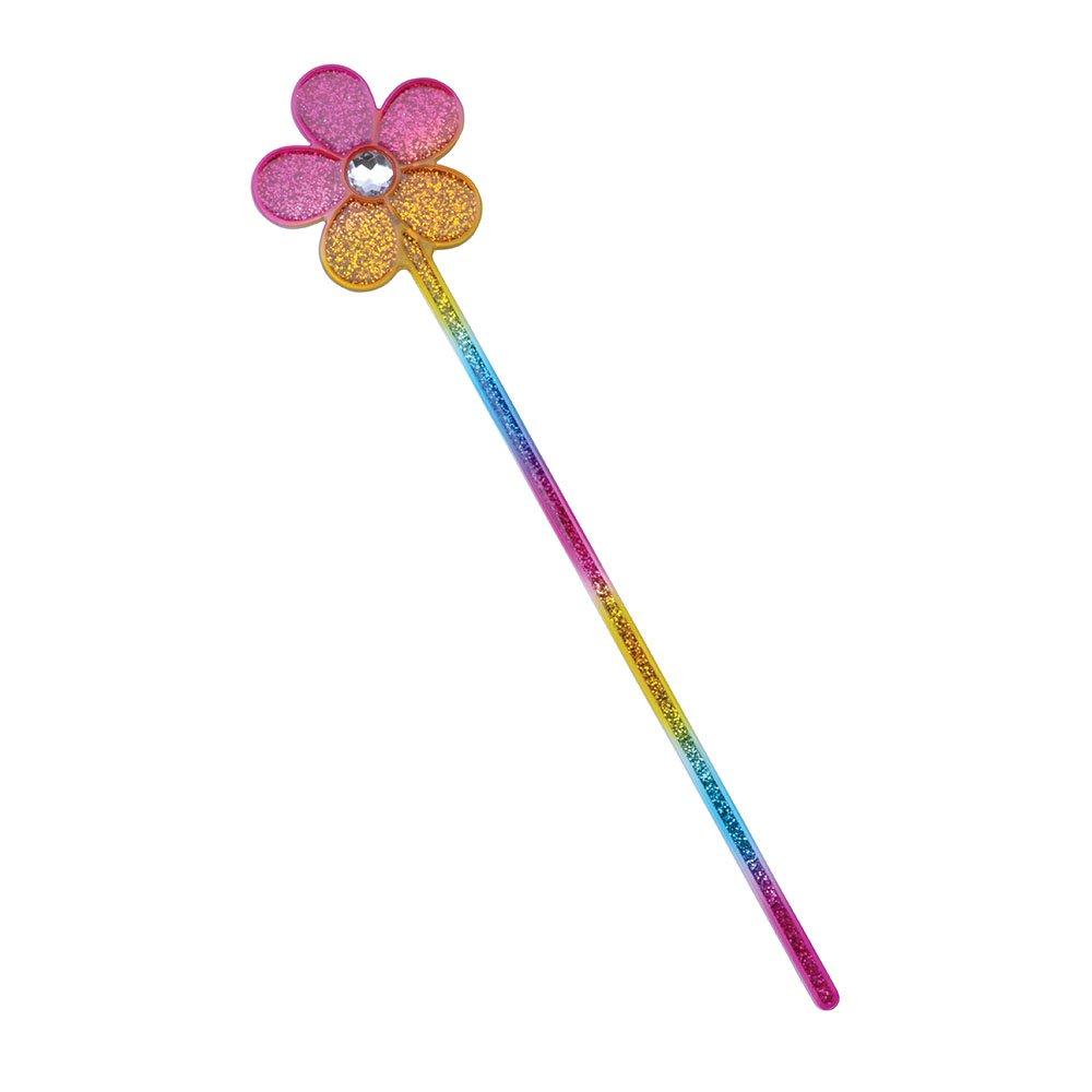 Bristol Novelty BA484 Glitter Rainbow Flower Wand, Unisex-Adult, Multi-Colour, One Size
