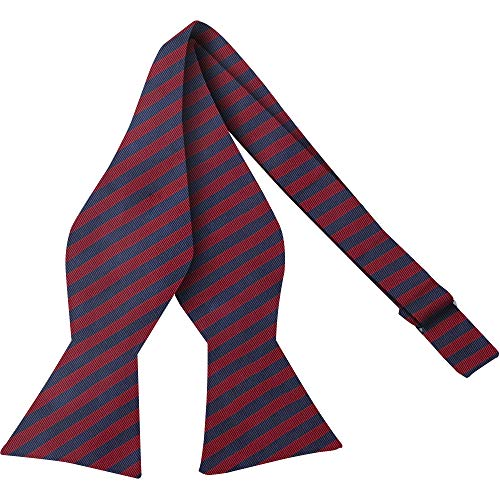Luther Pike Self Tie Woven Striped Bow Ties For Men Tuxedo Bowtie Red & Navy Blue Bow ()
