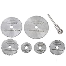 Dophee 6pcs HSS Steel Circular Saw Blades Cutting Discs Mandrel Cutoff Tool for Dremel