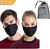 3PCS Dust Masks, Unisex Anti Pollen Allergens Flu Germs Surgical Mouth Muffle Reusable Cotton Gauze Mask with PM2.5 Activated Carbon Fliter Respirator Travel Outdoor Cycling Ski Warm Face Mask