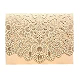 PONATIA 25pcs/Lot Luxury Laser Cut Invitations Cards Kits Flora Invitation Cardstock Packs with Envelope and Adhesive Seals for Engagement Wedding Party (Gold)
