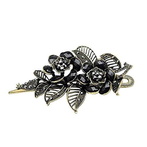 AKOAK Vintage Black Rose Flower Style Rhinestone Hair Clip Retro Hairpin Hair Accessories for Women Girls